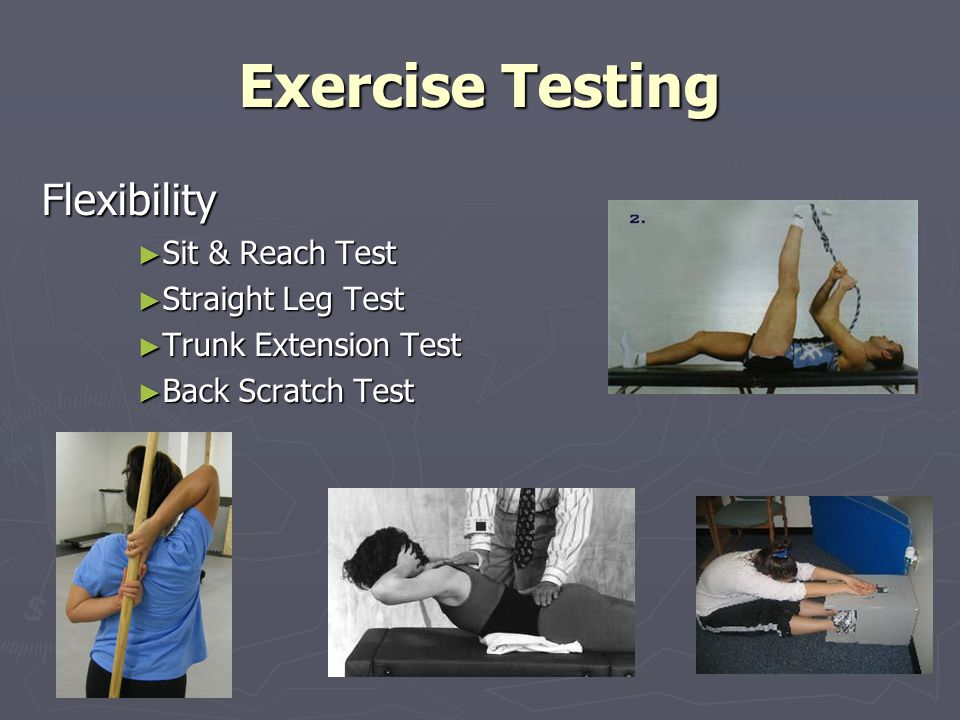 Exercise Testing Flexibility Sit & Reach Test Sit & Reach Test Straight Leg Test Straight Leg Test Trunk Extension Test Trunk Extension Test Back Scratch Test Back Scratch Test