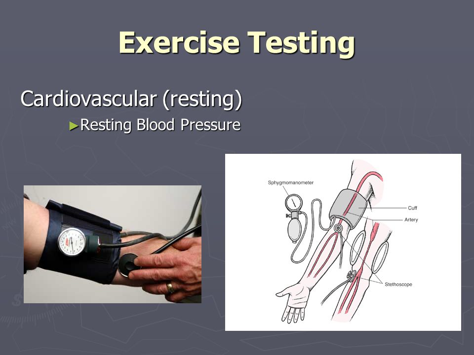 Exercise Testing Cardiovascular (exercise) All Field Test Sub-maximal (85% Heart Rate Reserve) All Field Test Sub-maximal (85% Heart Rate Reserve) Rating Perceived Exertion (RPE) Rating Perceived Exertion (RPE) 3 Minute Step Test 3 Minute Step Test Bike Tests Bike Tests Treadmill Tests Treadmill Tests 1½ Mile Walk/Run 1½ Mile Walk/Run 12 Minute Walk Run 12 Minute Walk Run Rockport Walking Test Rockport Walking Test