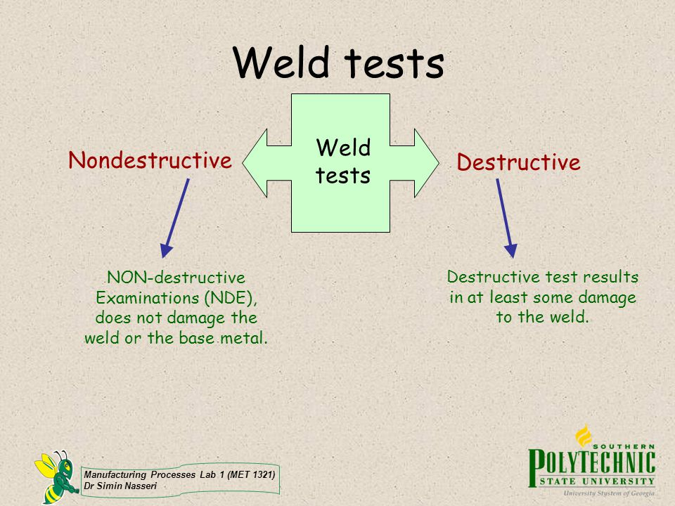 Manufacturing Processes Lab 1 (MET 1321) Dr Simin Nasseri Weld tests Nondestructive Destructive NON-destructive Examinations (NDE), does not damage th