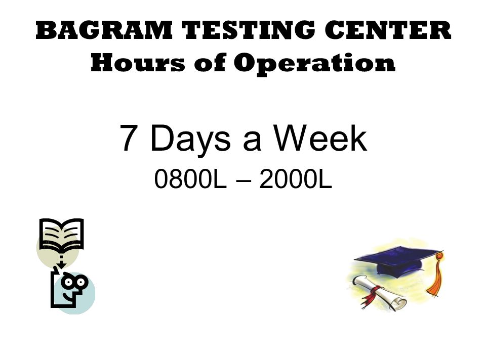 BAGRAM TESTING CENTER COLLEGE ENTRANCE EXAMS: ACT SAT COLLEGE CREDIT EXAMS: CLEP DSST ECE CERTIFICATION EXAMS: ASE PROCTORED COLLEGE EXAMS APT EXAMS: AFAST AFCT (ASVAB) GT-Predictor TABE A & D BMST OTHER EXAMS: GED, PRAXIS, LSAT & GRE (General)