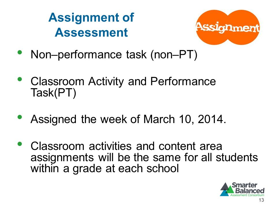 Assignment of Assessment Non–performance task (non–PT) Classroom Activity and Performance Task(PT) Assigned the week of March 10, 2014.