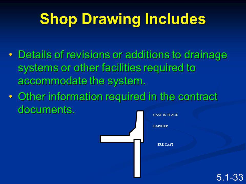 5.1-32 Shop Drawing Includes Layout of the System that will effectively retain (reinforce) the earth (slope).Layout of the System that will effectivel
