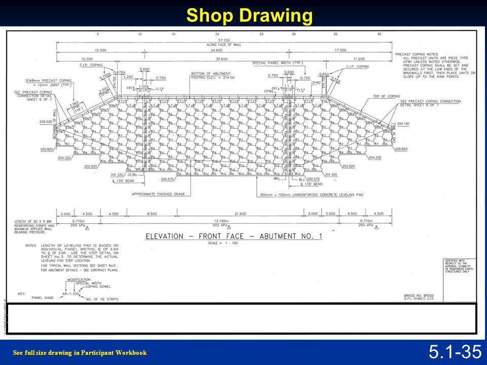 5.1-34 Contract Drawing See full size drawing in Participant Workbook Figure 5.1.5 Typical Contract Drawing for MSE Wall Abutment