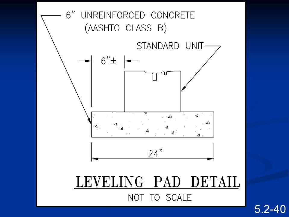 5.2-39 Leveling Pads 150 mm x 300 mm (6 x 12) UNREINF. CONC. LEVELING PAD PROPOSED FINISHED GRADE