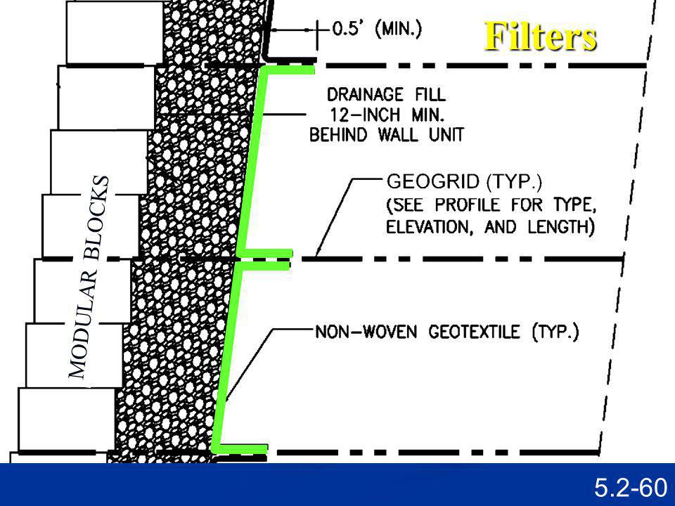 5.2-59Filters Stage 3 Place drainage stone in and behind (300 mm distance) the modular block units.