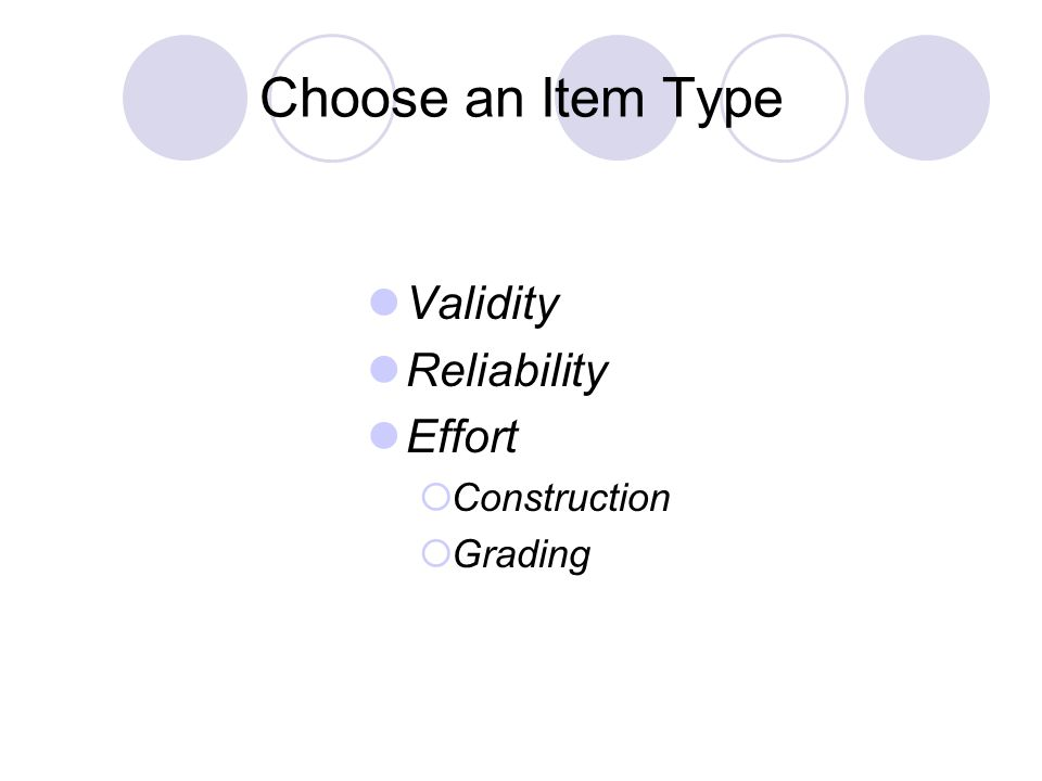 Choose an Item Type Validity Reliability Effort Construction Grading