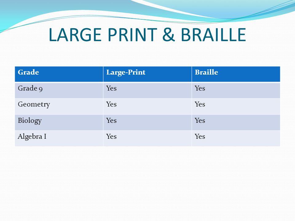 LARGE PRINT & BRAILLE GradeLarge-PrintBraille Grade 9Yes GeometryYes BiologyYes Algebra IYes