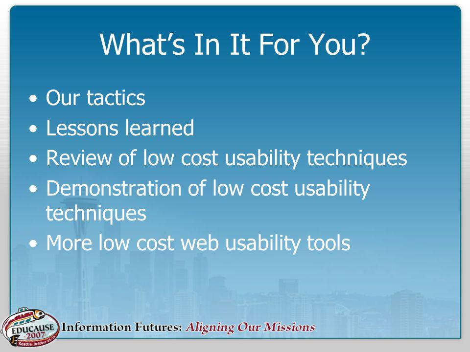 Additional Resources Jakob Nielsons UseIt.com & Alertbox –http://www.useit.com/ SURL at Wichita State –http://psychology.wichita.edu/surl Steve Krug, Dont Make Me Think –http://www.sensible.com/index.html Crazy Egg –http://www.crazyegg.com Google Analytics –http://www.google.com/analytics/ Clicktale –http://www.clicktale.com/ Usability.gov –http://www.usability.gov/