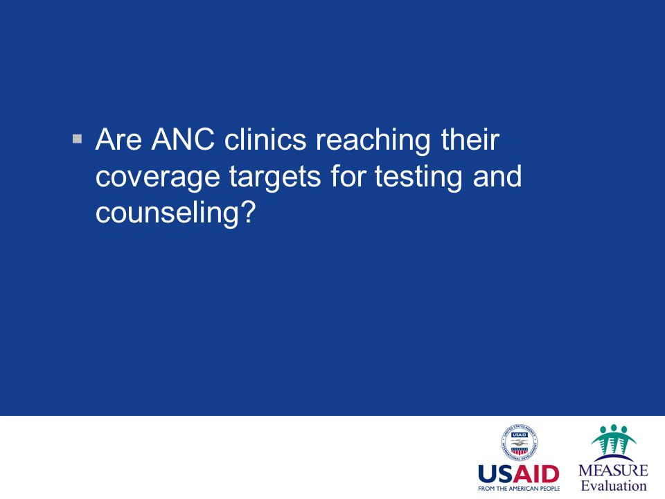 Are ANC clinics reaching their coverage targets for testing and counseling