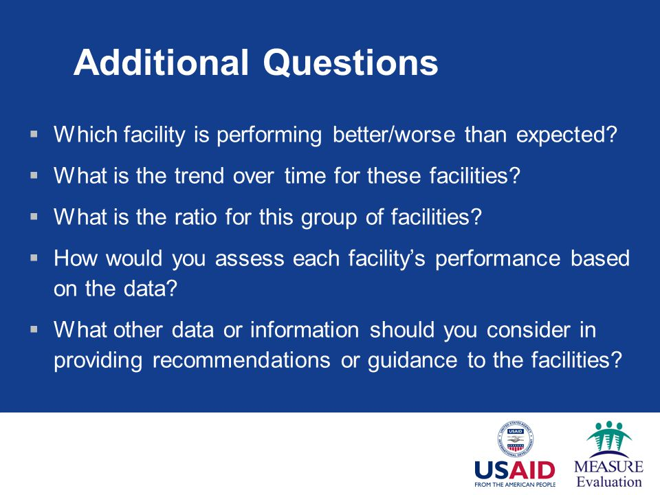 Additional Questions Which facility is performing better/worse than expected.
