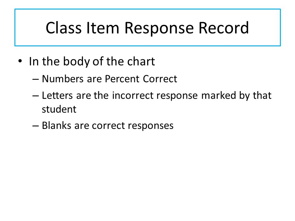 Class Item Response Record In the body of the chart – Numbers are Percent Correct – Letters are the incorrect response marked by that student – Blanks are correct responses