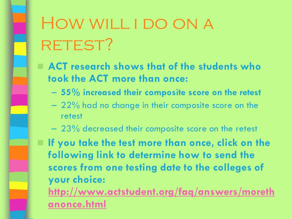 How will i do on a retest.