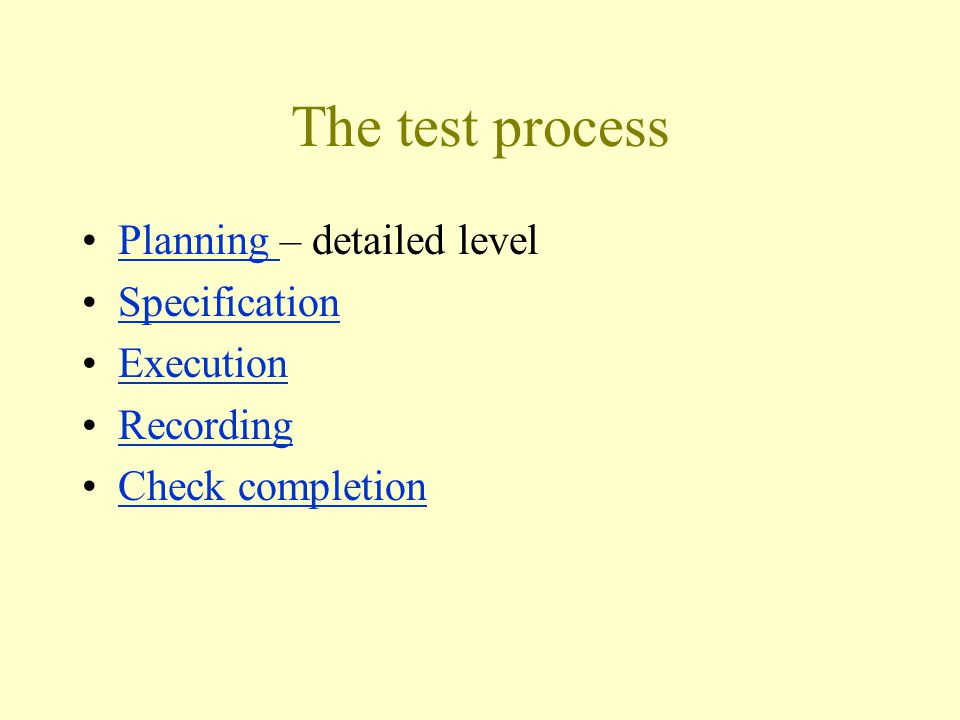 The test process Planning – detailed levelPlanning Specification Execution Recording Check completion