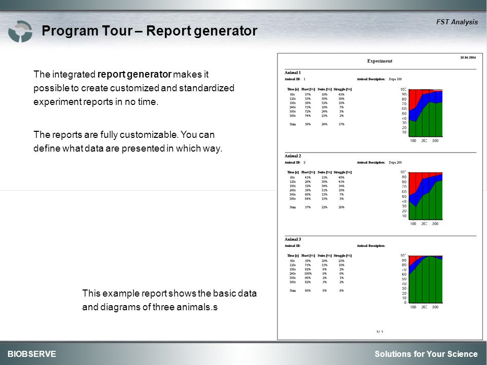 Solutions for Your ScienceBIOBSERVE FST Analysis Program Tour – Report generator The integrated report generator makes it possible to create customized and standardized experiment reports in no time.