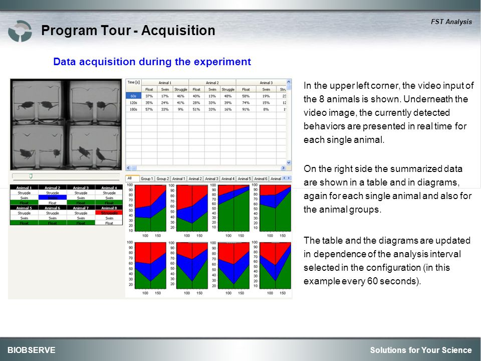 Solutions for Your ScienceBIOBSERVE FST Analysis Program Tour - Acquisition In the upper left corner, the video input of the 8 animals is shown.