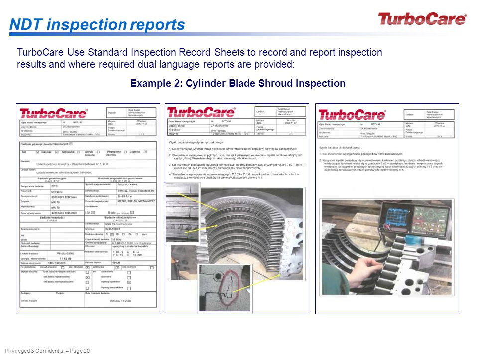 Privileged & Confidential – Page 20 NDT inspection reports Example 2: Cylinder Blade Shroud Inspection TurboCare Use Standard Inspection Record Sheets