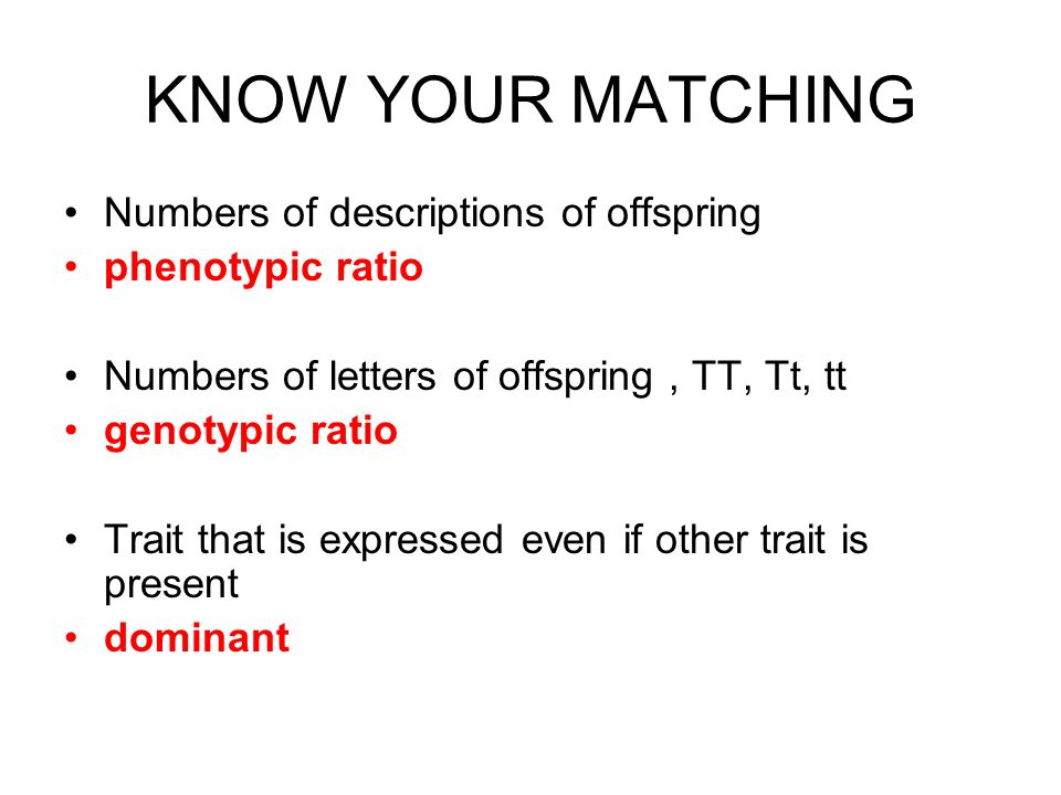 KNOW YOUR MATCHING Numbers of descriptions of offspring phenotypic ratio Numbers of letters of offspring, TT, Tt, tt genotypic ratio Trait that is expressed even if other trait is present dominant