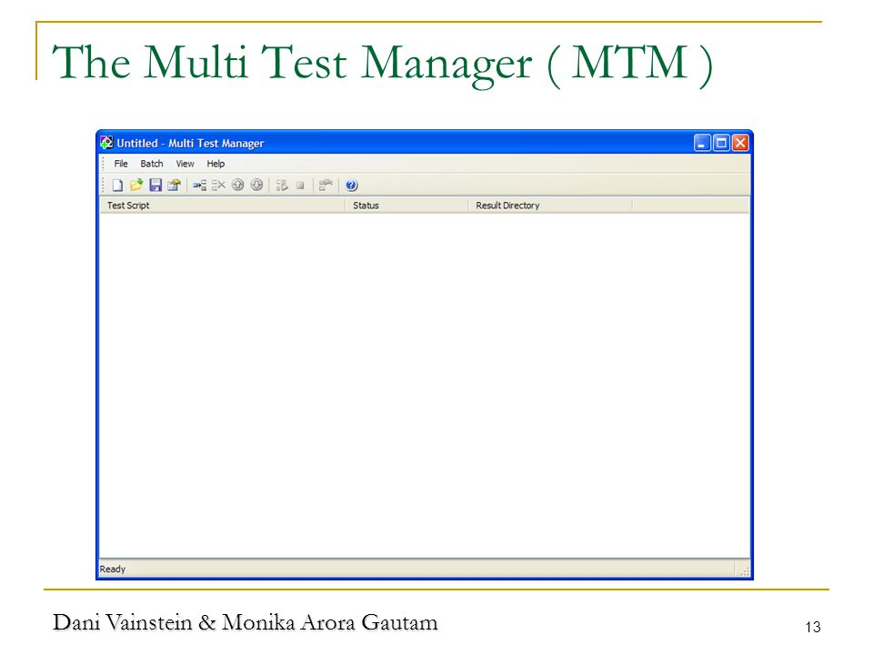 Dani Vainstein & Monika Arora Gautam 13 The Multi Test Manager ( MTM )
