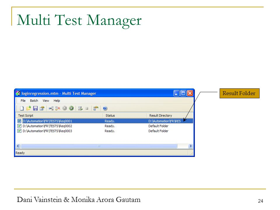 Dani Vainstein & Monika Arora Gautam 24 Multi Test Manager Result Folder