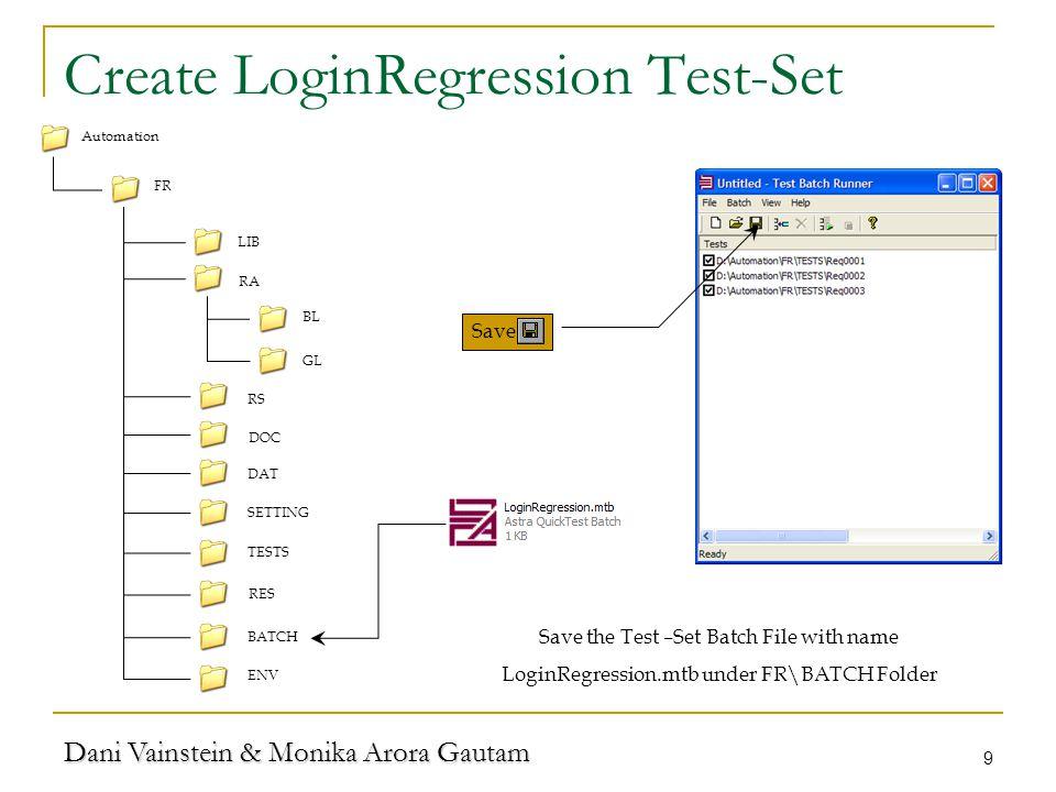 Dani Vainstein & Monika Arora Gautam 9 Create LoginRegression Test-Set LIB RA TESTS RS DOC FR DAT SETTING RES BATCH ENV Automation BL GL Save Save the Test –Set Batch File with name LoginRegression.mtb under FR\BATCH Folder