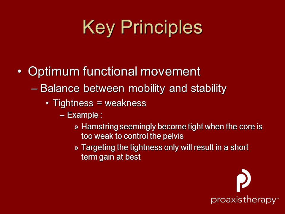 Key Principles Optimum functional movementOptimum functional movement –Balance between mobility and stability Tightness = weaknessTightness = weakness