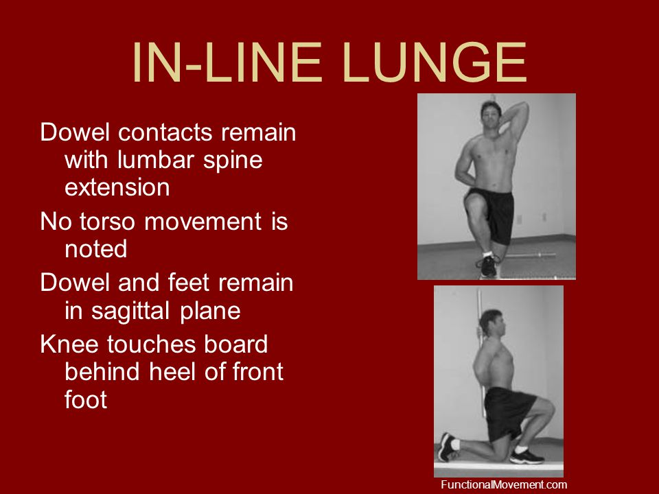 IN-LINE LUNGE Dowel contacts remain with lumbar spine extension No torso movement is noted Dowel and feet remain in sagittal plane Knee touches board