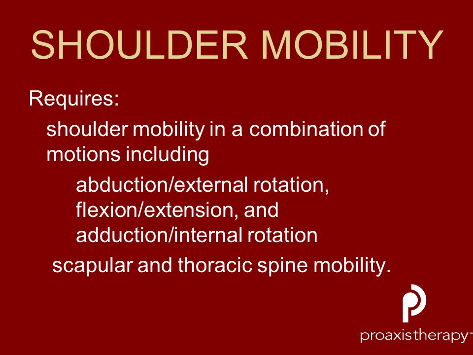SHOULDER MOBILITY Requires: shoulder mobility in a combination of motions including abduction/external rotation, flexion/extension, and adduction/inte