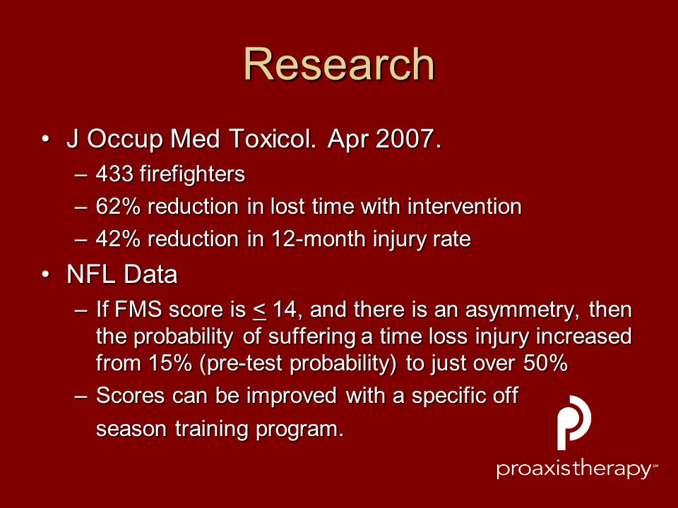 Research J Occup Med Toxicol. Apr 2007.J Occup Med Toxicol. Apr 2007. –433 firefighters –62% reduction in lost time with intervention –42% reduction i