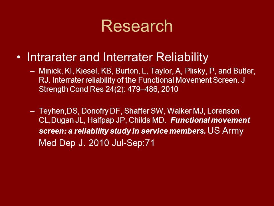 Research Intrarater and Interrater Reliability –Minick, KI, Kiesel, KB, Burton, L, Taylor, A, Plisky, P, and Butler, RJ. Interrater reliability of the