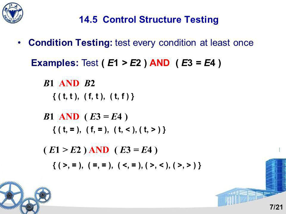 14.5 Control Structure Testing Condition Testing: test every condition at least once Examples: Test ( E1 > E2 ) AND ( E3 = E4 ) B1 AND B2 { ( t, t ), ( f, t ), ( t, f ) } B1 AND ( E3 = E4 ) { ( t, = ), ( f, = ), ( t, ) } ( E1 > E2 ) AND ( E3 = E4 ) { ( >, = ), ( =, = ), (,, > ) } 7/21