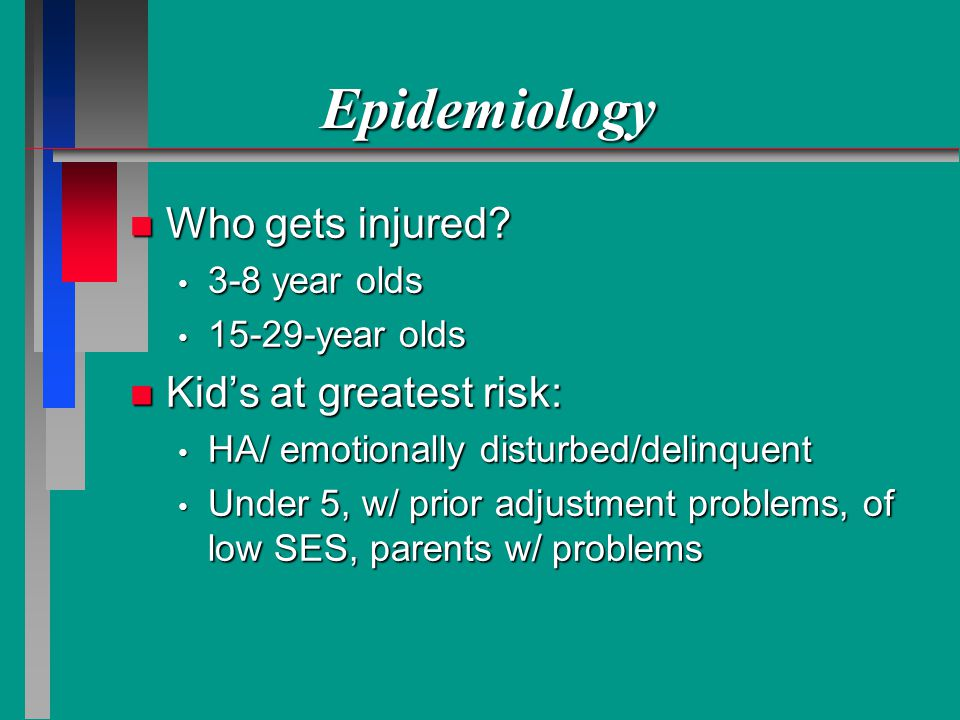Epidemiology n Who gets injured.