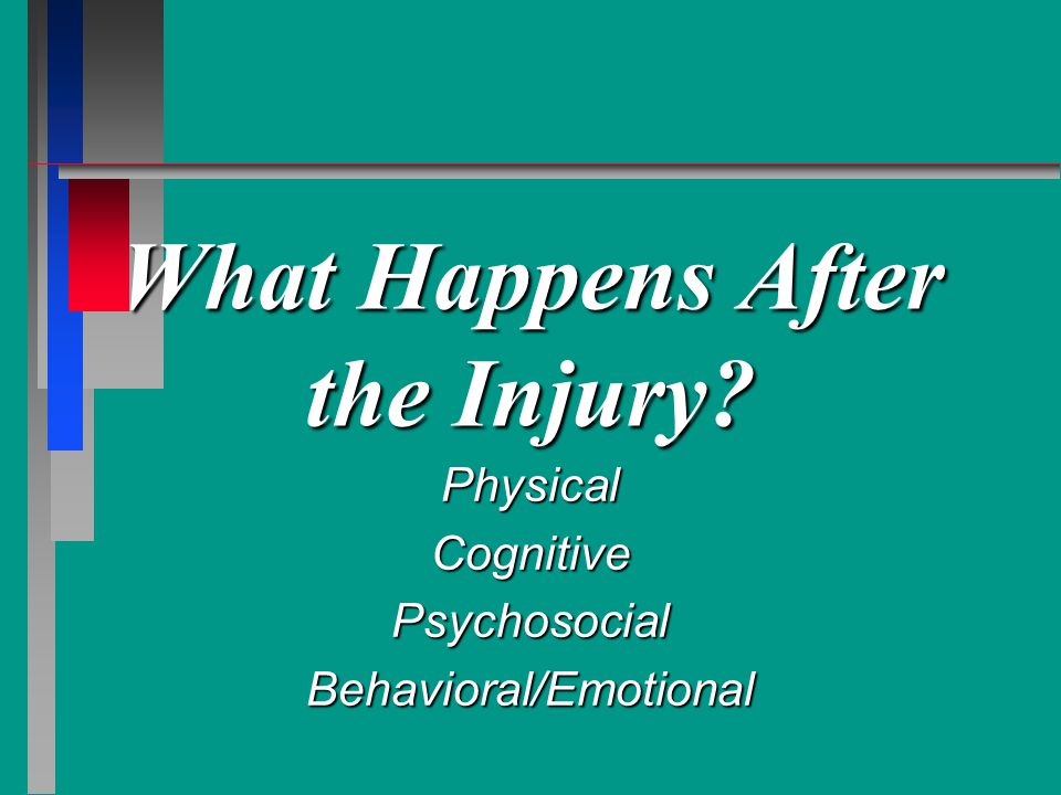 What Happens After the Injury? PhysicalCognitivePsychosocialBehavioral/Emotional