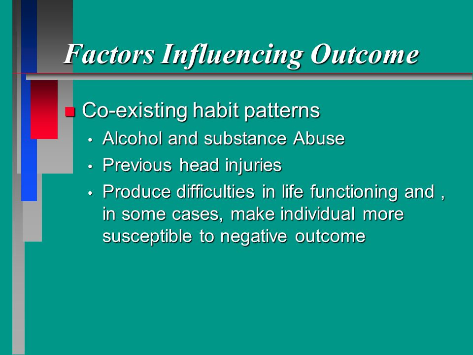 Factors Influencing Outcome n Co-existing habit patterns Alcohol and substance Abuse Alcohol and substance Abuse Previous head injuries Previous head injuries Produce difficulties in life functioning and, in some cases, make individual more susceptible to negative outcome Produce difficulties in life functioning and, in some cases, make individual more susceptible to negative outcome