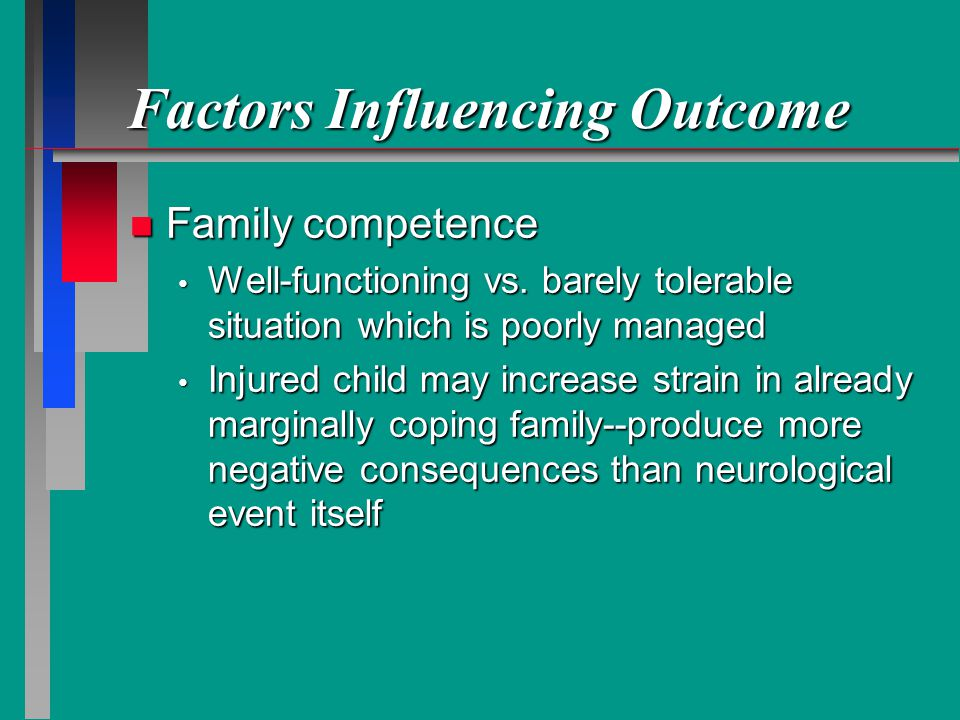 Factors Influencing Outcome n Family competence Well-functioning vs.