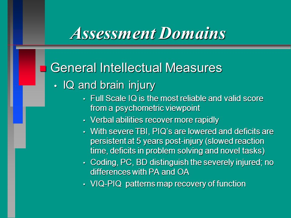 Assessment Domains n General Intellectual Measures IQ and brain injury IQ and brain injury Full Scale IQ is the most reliable and valid score from a psychometric viewpoint Full Scale IQ is the most reliable and valid score from a psychometric viewpoint Verbal abilities recover more rapidly Verbal abilities recover more rapidly With severe TBI, PIQs are lowered and deficits are persistent at 5 years post-injury (slowed reaction time, deficits in problem solving and novel tasks) With severe TBI, PIQs are lowered and deficits are persistent at 5 years post-injury (slowed reaction time, deficits in problem solving and novel tasks) Coding, PC, BD distinguish the severely injured; no differences with PA and OA Coding, PC, BD distinguish the severely injured; no differences with PA and OA VIQ-PIQ patterns map recovery of function VIQ-PIQ patterns map recovery of function