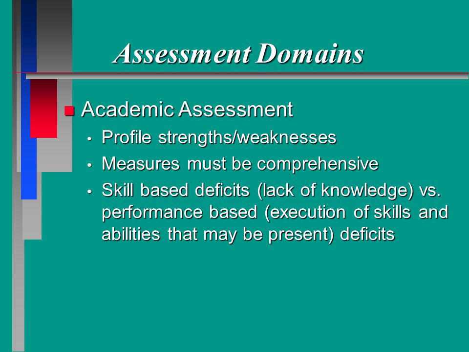 Assessment Domains n Academic Assessment Profile strengths/weaknesses Profile strengths/weaknesses Measures must be comprehensive Measures must be comprehensive Skill based deficits (lack of knowledge) vs.