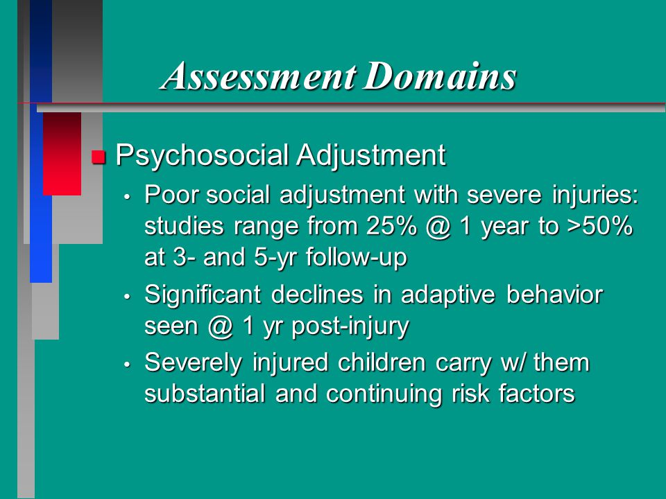 Assessment Domains n Psychosocial Adjustment Poor social adjustment with severe injuries: studies range from 25% @ 1 year to >50% at 3- and 5-yr follow-up Poor social adjustment with severe injuries: studies range from 25% @ 1 year to >50% at 3- and 5-yr follow-up Significant declines in adaptive behavior seen @ 1 yr post-injury Significant declines in adaptive behavior seen @ 1 yr post-injury Severely injured children carry w/ them substantial and continuing risk factors Severely injured children carry w/ them substantial and continuing risk factors