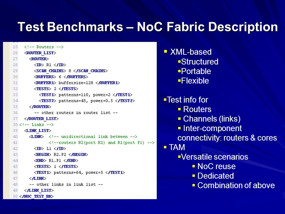 Test Benchmarks – NoC Fabric Description XML-based Structured Portable Flexible Test info for Routers Channels (links) Inter-component connectivity: routers & cores TAM Versatile scenarios NoC reuse Dedicated Combination of above