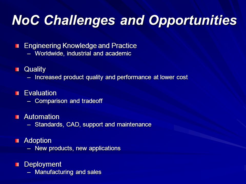 NoC Challenges and Opportunities Engineering Knowledge and Practice –Worldwide, industrial and academic Quality –Increased product quality and performance at lower cost Evaluation –Comparison and tradeoff Automation –Standards, CAD, support and maintenance Adoption –New products, new applications Deployment –Manufacturing and sales