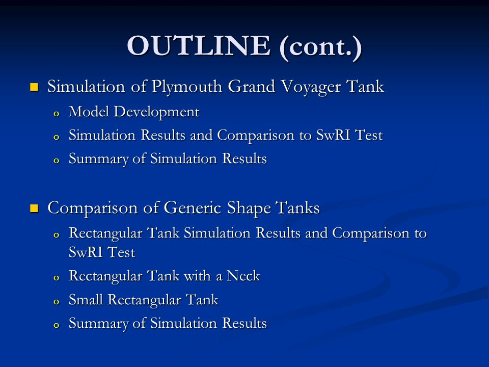 PINCH-OFF EVALUATION BEAM SET-V Rectangular Tank with a Neck