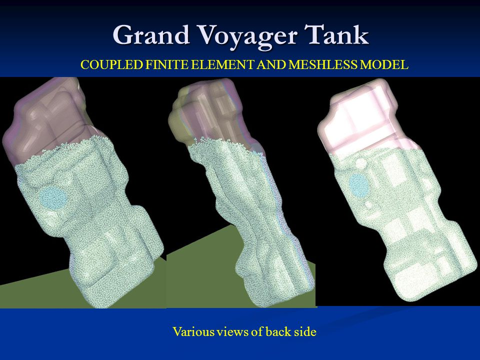 COUPLED FINITE ELEMENT AND MESHLESS MODEL Grand Voyager Tank Various views of back side