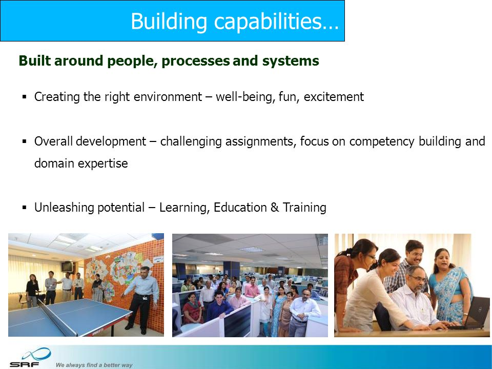 20 Built around people, processes and systems Creating the right environment – well-being, fun, excitement Overall development – challenging assignments, focus on competency building and domain expertise Unleashing potential – Learning, Education & Training Building capabilities…