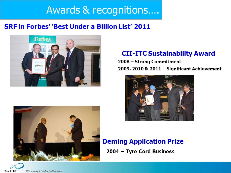 26 CII-ITC Sustainability Award Deming Application Prize 2004 – Tyre Cord Business 2008 – Strong Commitment 2009, 2010 & 2011 – Significant Achievement Awards & recognitions….