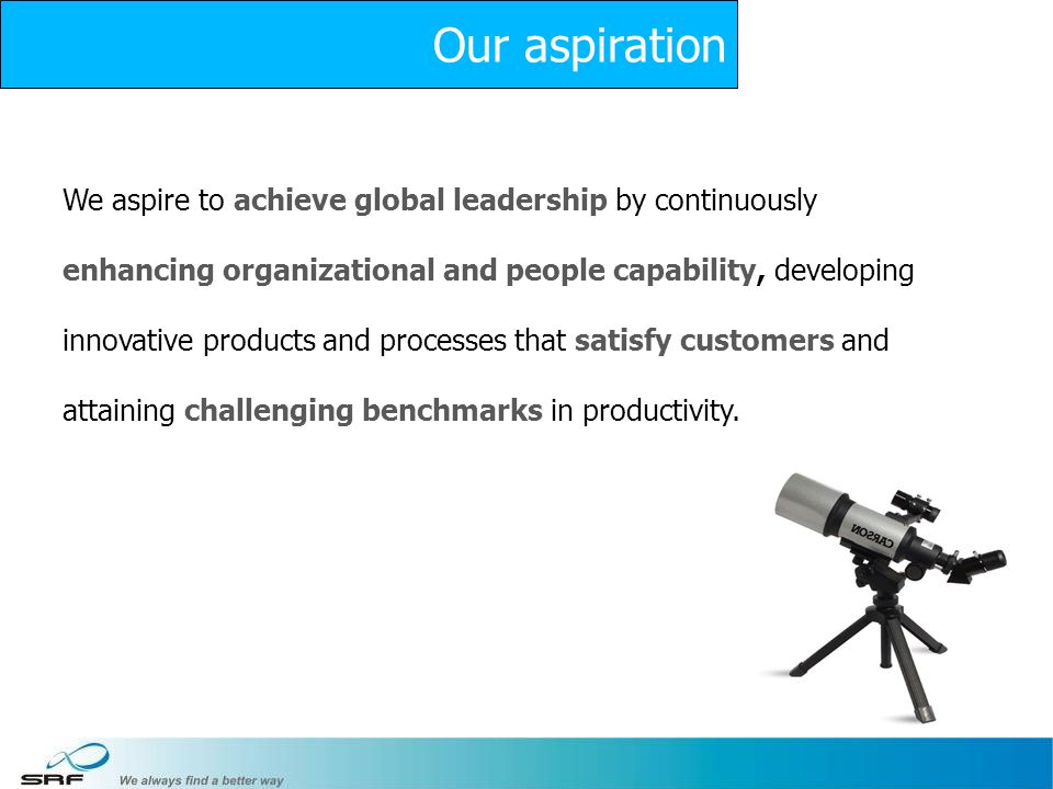7 We aspire to achieve global leadership by continuously enhancing organizational and people capability, developing innovative products and processes that satisfy customers and attaining challenging benchmarks in productivity.