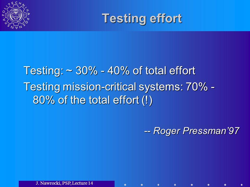 J. Nawrocki, PSP, Lecture 14 Testing effort Testing: ~ 30% - 40% of total effort Testing mission-critical systems: 70% - 80% of the total effort (!) -