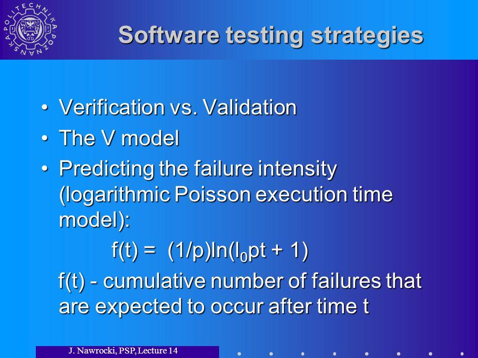 J. Nawrocki, PSP, Lecture 14 Software testing strategies Verification vs.