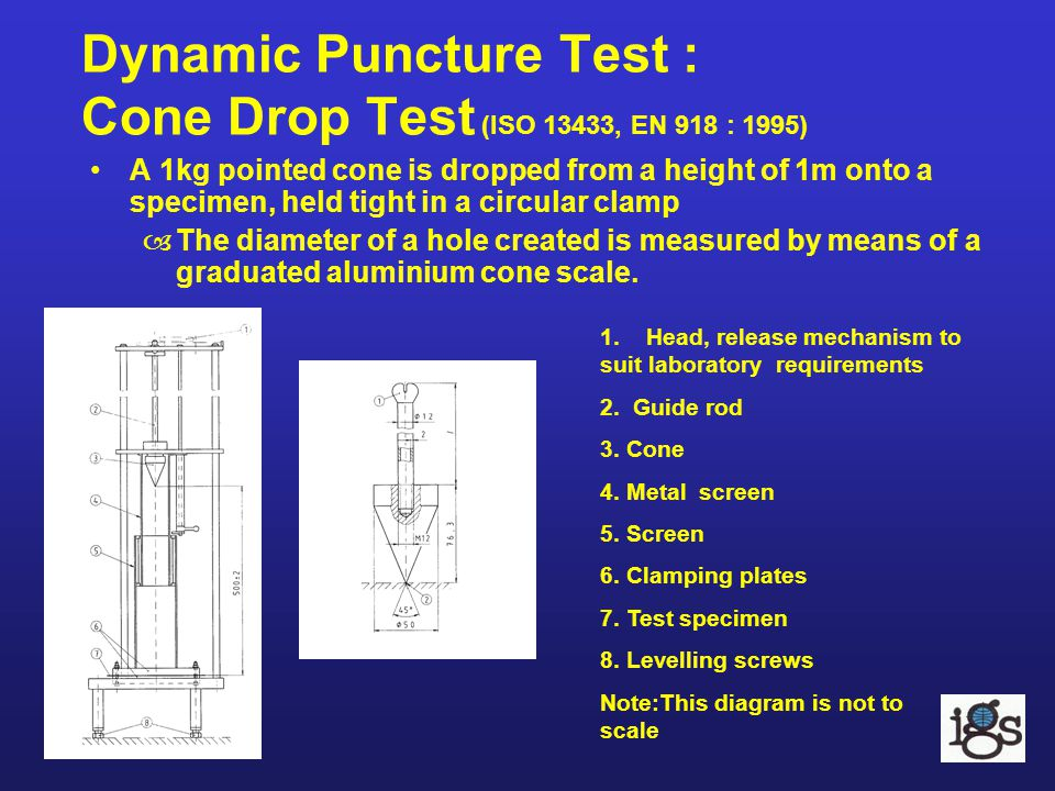 Dynamic Puncture Test : Cone Drop Test (ISO 13433, EN 918 : 1995) A 1kg pointed cone is dropped from a height of 1m onto a specimen, held tight in a c