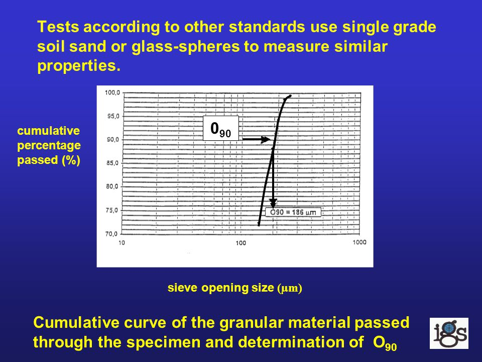 Tests according to other standards use single grade soil sand or glass-spheres to measure similar properties. Cumulative curve of the granular materia