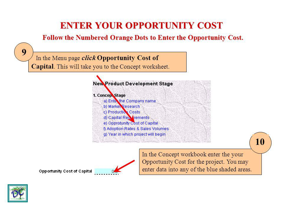 ENTER YOUR OPPORTUNITY COST Follow the Numbered Orange Dots to Enter the Opportunity Cost.