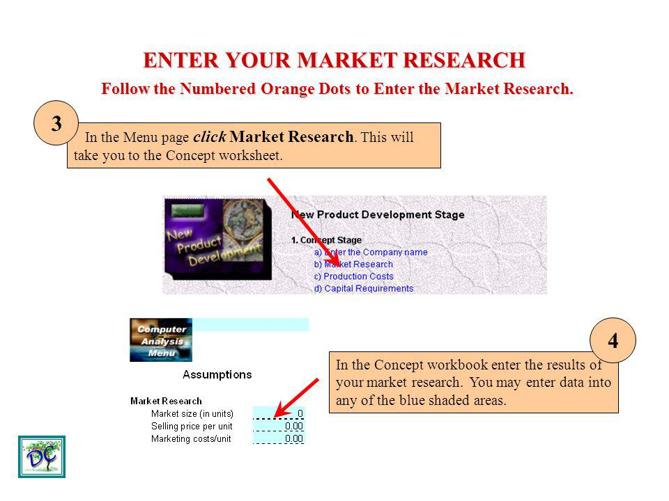 ENTER YOUR MARKET RESEARCH Follow the Numbered Orange Dots to Enter the Market Research. In the Menu page click Market Research. This will take you to